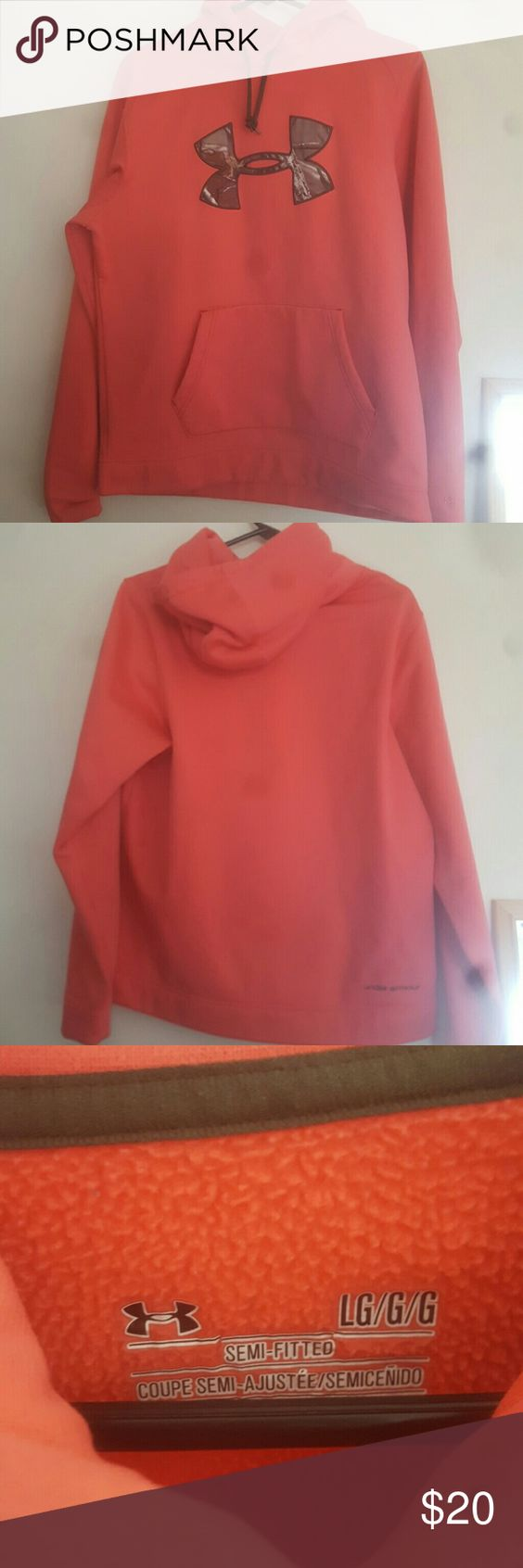 under armour cold gear hoodie gently used , semi fitted, storm technology says large fits more like a medium, salmon pink color with camo logo Under Armour Jackets & Coats