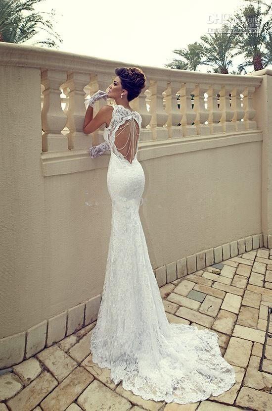 2013 White Ivory Cap Sleeves Lace Mermaid Wedding Dress Custom Sz 2 4 6 8 10 12 | eBay