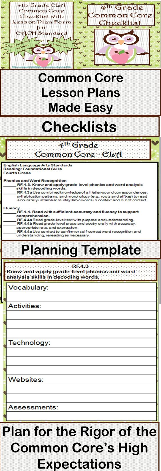 Lesson planning templates common cores and high for Lesson plan template using common core standards