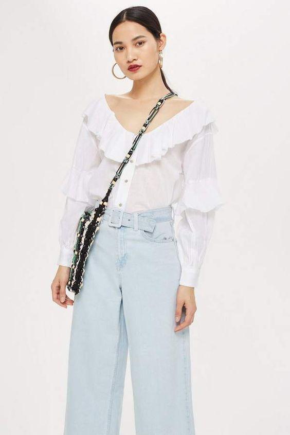 Topshop Ruffle button down blouse