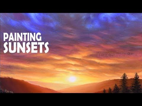 How To Paint A Gorgeous Sunset Acrylic Painting Sunset Painting Sunset Painting Acrylic Landscape Painting Tutorial