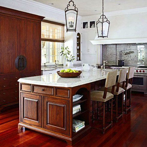 love this kitchen island idea.  end cap would define the space and look good from all angles.