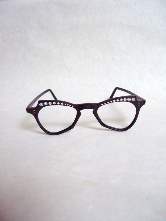 1940s Black lucite & rhinestone spectacle frames by Veramode, £68.00