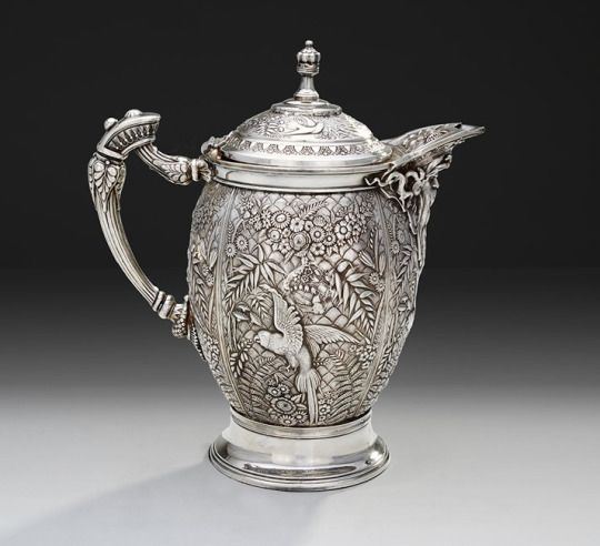 American Aesthetic silverplate ice water pitcher circa 1885 by the Meriden Britannia Company, Meriden, CT, 13.5″ tall. Polar Bear Desire