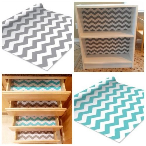 Contact paper shelf liners and chevron on pinterest for Best shelf paper for kitchen cabinets