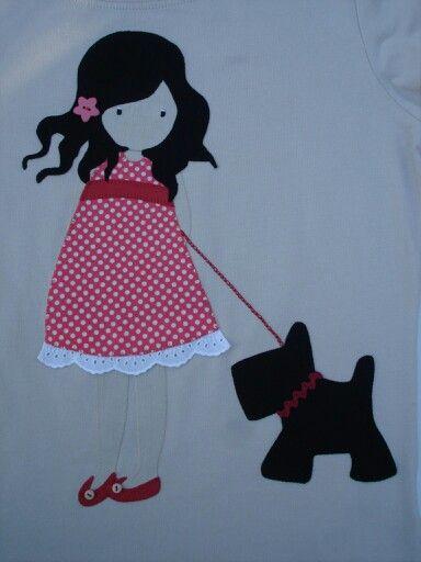 Una niña y su perrito... Para patchwork.