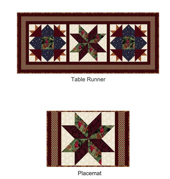 Winter Pines Table Runner & Placemat designed by Margrit Hall features Winterpines