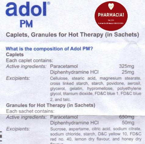 Adol Pm Pil Hot Therapy Active Ingredient Cross Link