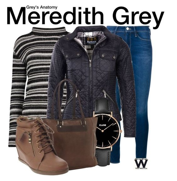 """Grey's Anatomy"" by wearwhatyouwatch ❤ liked on Polyvore featuring Frame Denim, Barbour International, CLUSE, Piel Leather, television and wearwhatyouwatch"