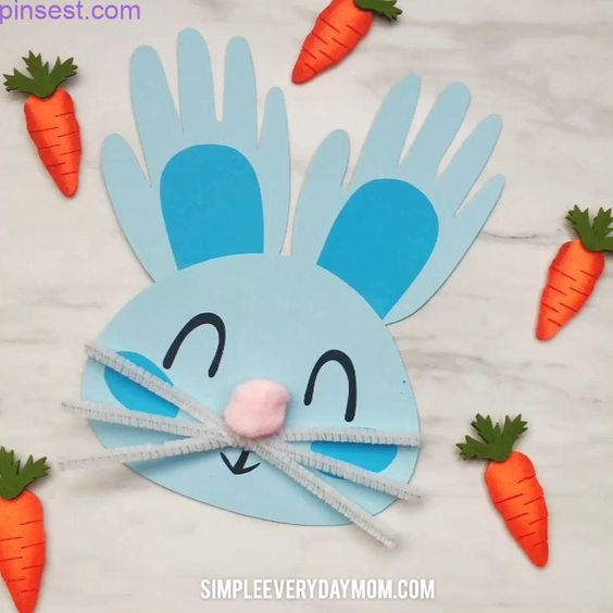 Handprint Bunny Craft For Kids  #ostern  #eastercrafts