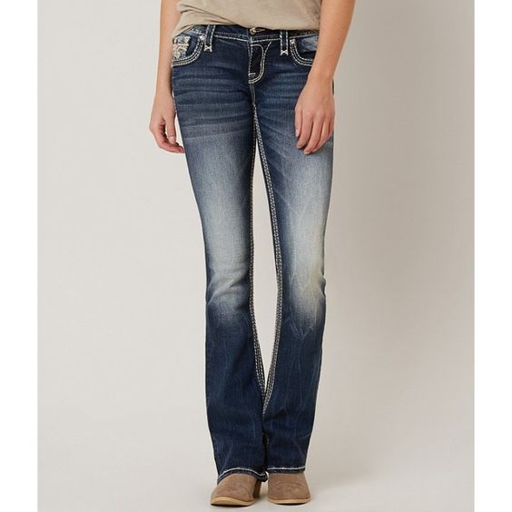 Rock Revival Yui Boot Stretch Jean ($159) ❤ liked on Polyvore featuring jeans, blue, flap-pocket jeans, low rise stretch jeans, low rise slim bootcut jeans, low rise bootcut jeans and zipper jeans