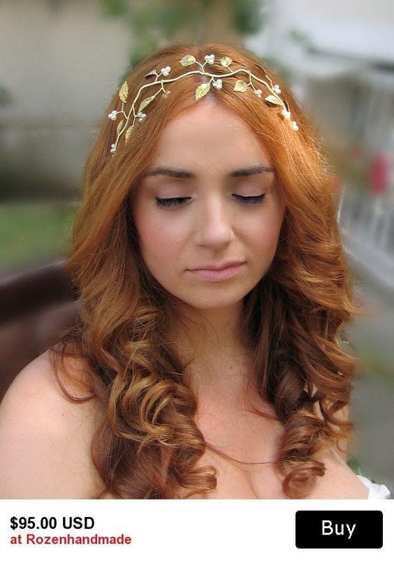 gold grecian bridal hair wreath $95