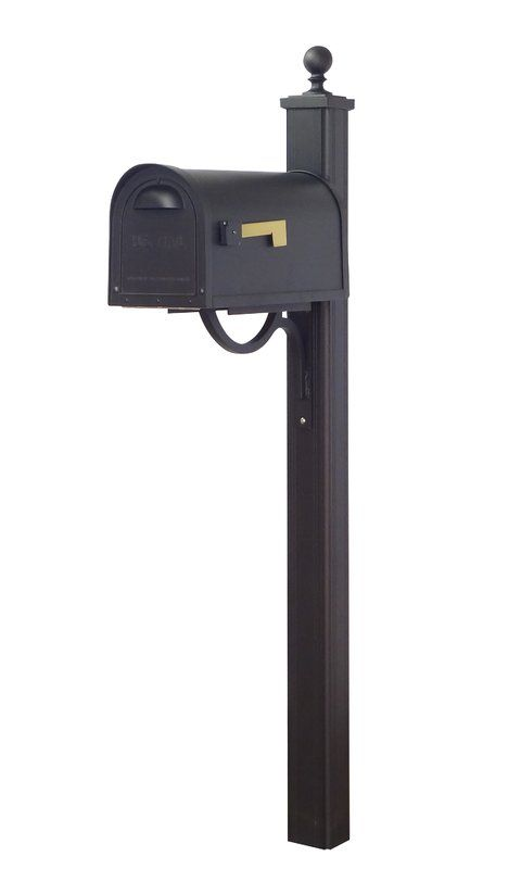 Classic Curbside Mailbox With Post Included Mailbox Mounted Mailbox Black Mailbox
