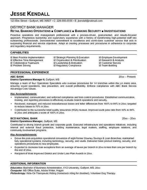 Banking Executive Manager Resume Template - Banking Executive - loss prevention resume