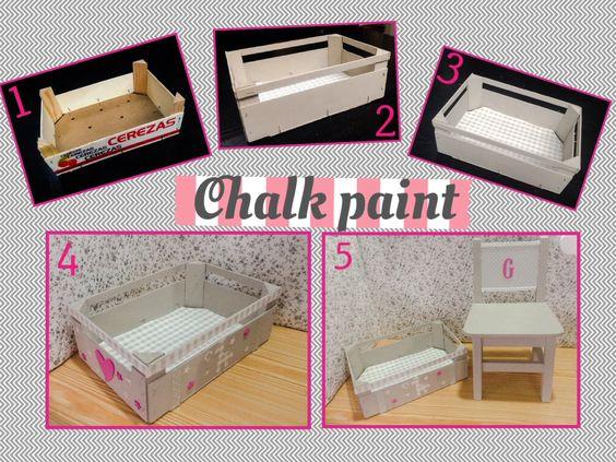 Silla y caja de cerezas pintadas con CHALK PAINT, fácil y un resultado increíble.