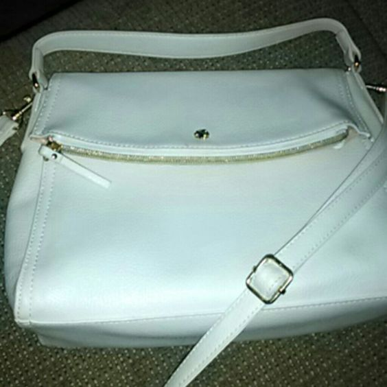 !! SALE !! White and Gold Bag All White Shoulder/Hand bag with Gold Buckles and Zippers Bags Shoulder Bags