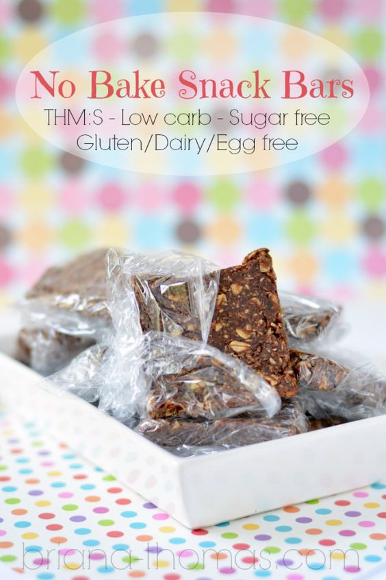 No Bake Snack Bars (THM:S, Low carb, Sugar free, Gluten/Dairy/Egg free)