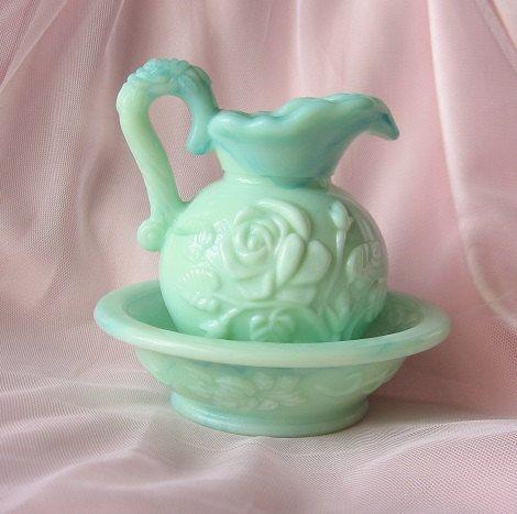 Vintage Shabby Chic Mint Avon Vase Pitcher and by happybdaytome, $26.00