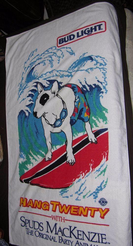 VINTAGE SPUDS MACKENZIE BEACH TOWEL BUD LIGHT UNUSED HANG 20 SURF SURFING DOG