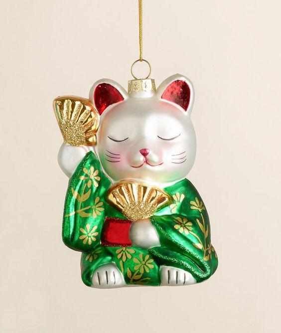 Maneki Neko Cat Japanese Geisha Christmas Ornament Blown