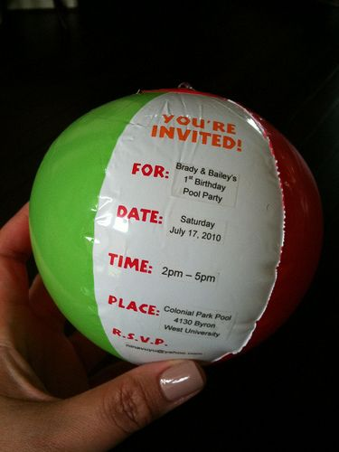 Great invite for a pool party - I'm thinking bigger.  Send it flat and attach a note to blow it up.