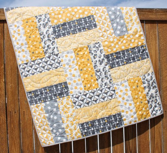 Easy Quilt With Three Fabrics : Baby Quilt Pattern, Lap Quilt Pattern, Jumbo Rails Baby Quilt Pattern, Rail Fence Quilt Pattern ...