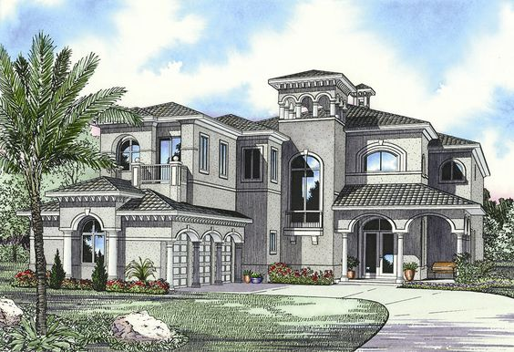 Luxury Mediterranean House Plan - 32058AA   European, Florida, Mediterranean, Luxury, 2nd Floor Master Suite, Butler Walk-in Pantry, CAD Available, Den-Office-Library-Study, MBR Sitting Area, PDF   Architectural Designs