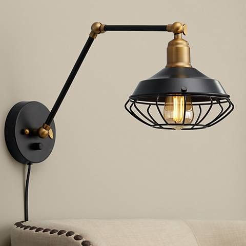 Zelda Matte Black And Gold Industrial Cage Wall Lamp 55k56 Lamps Plus Wall Lamp Plug In Wall Lamp Black Wall Lamps