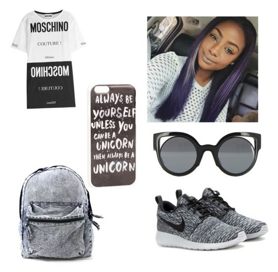 Untitled #71 by justineskye01 on Polyvore featuring polyvore, fashion, style, Moschino, NIKE, Fendi, JFR and clothing