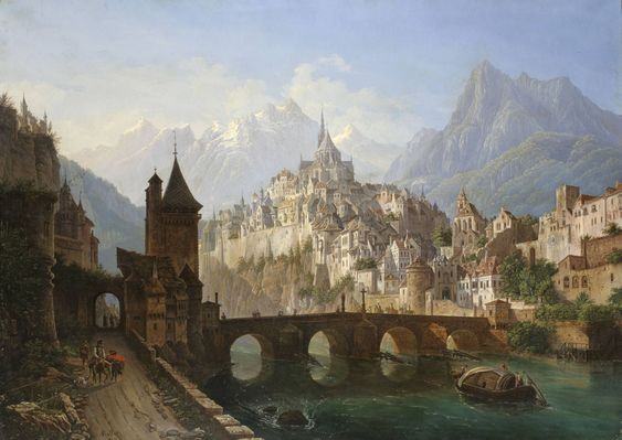 Landscape with a Bridge and Fortress, 1843 Andreas Roller (German, 1805-1891)
