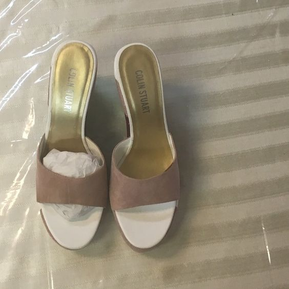 Gorgeous Colin Stuart never worn multicolor wedges Brand new Colin Stuart wedges. Beautiful  for summer. Top is a dusty rose suede with a 5 inch multi colored heel with a 1 inch platform. Great with any outfit. Colin Stuart Shoes Wedges