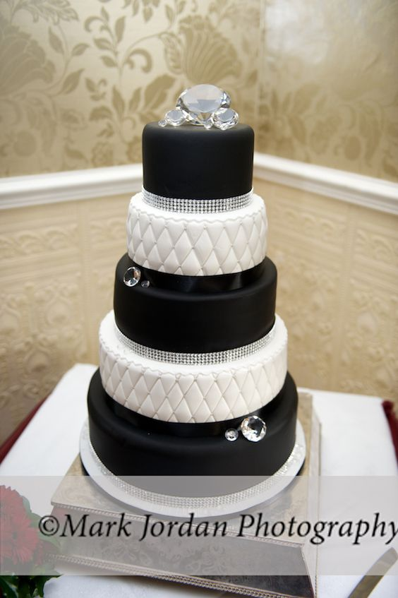 "Classic black and white wedding cake with large ""diamonds"""