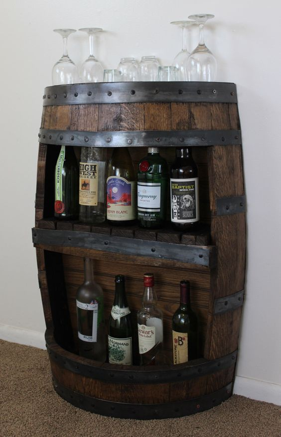 Whiskey barrel bar with shelf reclaimed whiskey barrel for Diy whiskey barrel bar