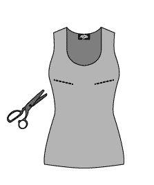 [1] Achetez quelques débardeurs en coton, dans des tons basiques (noir, gris, beige, blanc…) et pourquoi pas pour le fun, et le côté mode, en fluo.      [2] Devant la glace, le débardeur porté, faites un coup de ciseau sur l'horizontal pour créer une ouverture pile à l'endroit de chaque bonnet.  http://www.myzotte.fr/allaiter-malin/