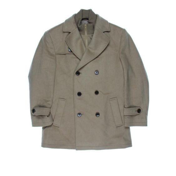 LAUREN RALPH LAUREN 7108 Mens Beige Wool Solid Lined Coat Outerwear 38S BHFO #LaurenRalphLauren #BasicCoat