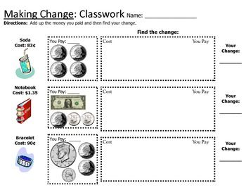 Counting Change Back Worksheets - Delibertad