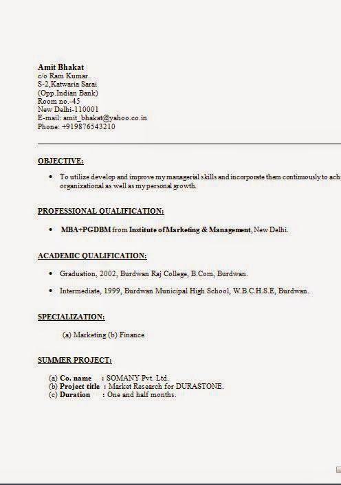how to write an cv Sample Template Example ofExcellent CV \/ Resume - resume for mba application