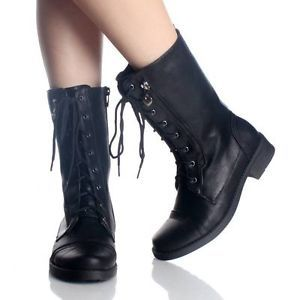 clearance SHOE SALE TRENDY GIRLS BLACK COMBAT BOOTS CHILDRENS KIDS