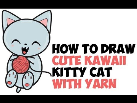How To Draw Cute Kawaii Kitten Cat Playing With Yarn From Number