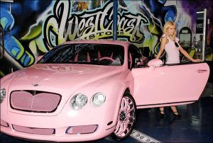 The Pink Bentley owned by  Paris Hilton`s color was Inspired by a Clock She saw at a Disney Store.