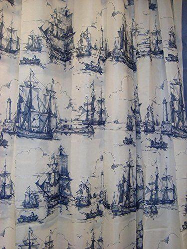 Ikea Nautical Tall Ships Boat Lighthouse Navy White Fabric Shower ...
