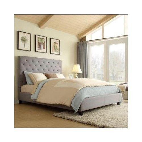 Tufted Queen Bed Frame Modern Grey Upholstered Fabric Headboard Size Platform  #Modern