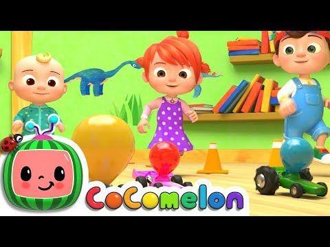 Toy Balloon Car Race Cocomelon Abckidtv Nursery Rhymes Kids Songs Youtube Kids Songs Balloon Cars Nursery Rhymes