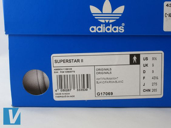 Adidas Superstar retail boxes feature a label detailing style name ...