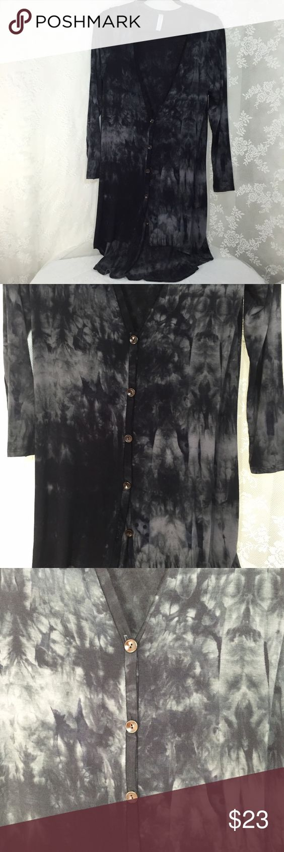 Black tie die long cardigan. Black tie die long cardigan. 95% Rayon 5% Spandex. Lightweight fabric!! Great for year round. Long sleeve and 5 bottons down. I believe you will love it very much. #006 Peppermint Sweaters Cardigans