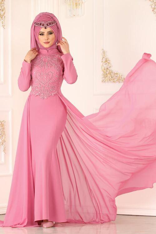 Modaselvim Abiye Gupuru Inci Ve Tasli Balik Abiye 8843w153 Gul Kurusu Modest Fashion Muslim Hijab Trends Evening Dresses