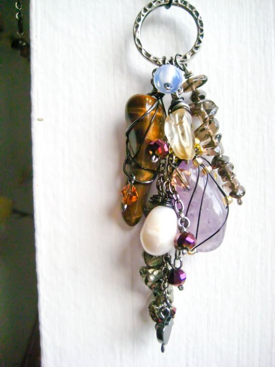 Charm Necklace Stone and Crystal Charm Cluster by deenidesigns