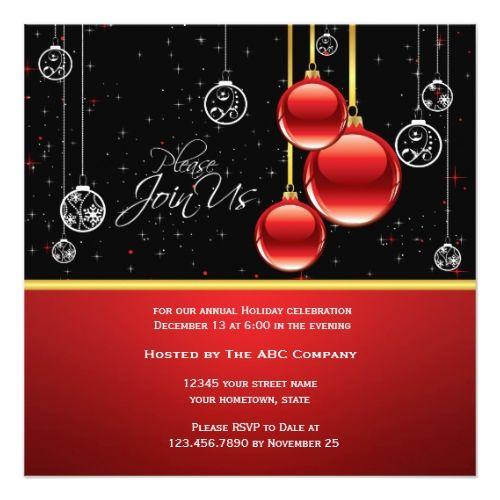 Elegant Red Gold Ornaments On Black Party Invite Zazzle