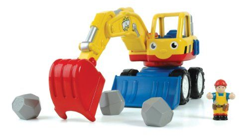 $46.74 WOW Dexter the Digger - Construction Vehicle (5 Piece Set). Friction-Powered Vehicle with Mechanical Backhoe. Big Dex is here! His easy to use mechanical arm digs scoops up the rattling boulders - job done! A strong friction-motor front bulldozer make light work of any obstructions. Rough, tough strong, this heavy-duty digger is ready for any construction site. Comes with removable driver figure 3 rattling boulders.