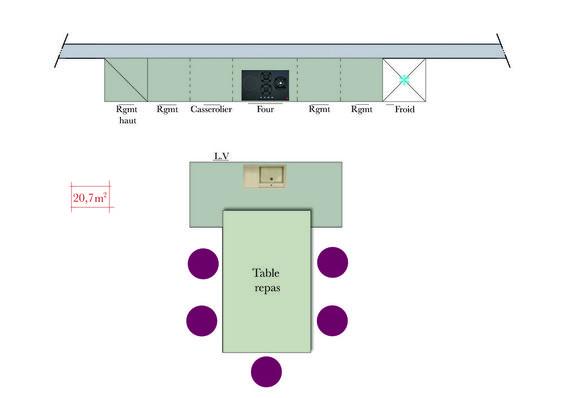 integrer table repas mobilier cuisine prolongement ilot central